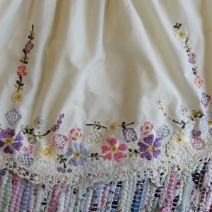Dresses - Flower Dress Handmade Embroidered Yellow